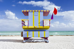 Summer scene with a lifeguard house in Miami Beach Stock Image