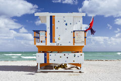 Summer scene with a lifeguard house in Miami Beach Royalty Free Stock Photography