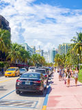 Summer scene at Ocean Drive in Miami Beach Stock Image
