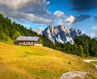 Summer scene with Pizes de Cir mountain range. Colorful sunny la Royalty Free Stock Photography