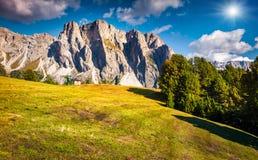 Summer scene with Pizes de Cir mountain range Royalty Free Stock Image
