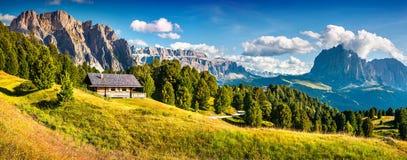 Summer scene with Pizes de Cir mountain range. Royalty Free Stock Image