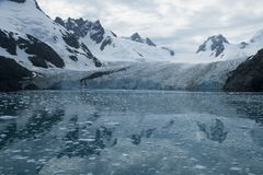 Drygalski Fjord, views of mountains and glacier stock images