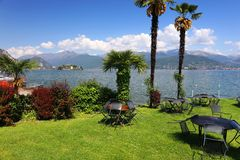 Summer scene in Stresa, famous resort on the western shore of Maggiore Lake Stock Photo