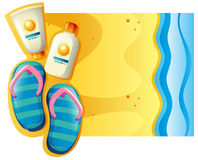 Summer scene with sunscreen and sandals on the beach Stock Photo