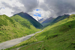 Caucasus green mountains. Summer scenery of Caucasus green mountains Royalty Free Stock Image