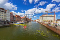 Summer scenery of Motlawa river in Gdansk Royalty Free Stock Image