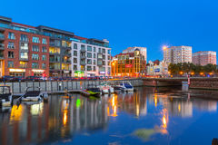 Summer scenery of Motlawa river and marina in Gdansk Stock Photos