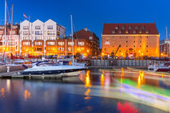 Summer scenery of Motlawa river and marina in Gdansk Stock Images