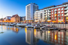 Summer scenery of Motlawa river and marina in Gdansk Royalty Free Stock Photo
