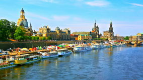 Summer scenery of the Old Town in Dresden, Germany stock video