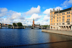 Summer scenery of the Old Town and tawn hall in Stockholm, Swede Royalty Free Stock Photos