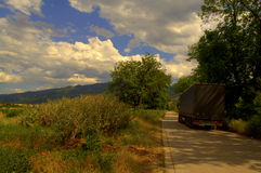 Summer scenery road truck Stock Photo