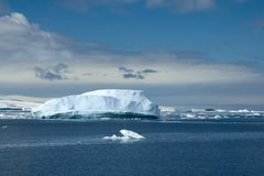 Seascape with icebergs of blue ice Stock Images
