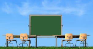Summer school. Outdoor classroom without student - rendering
