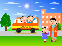 Summer School Bus. A School Girl Back To Home with School Bus Royalty Free Stock Photos