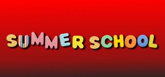 Summer school. Text with colorful letters on red color background stock photo