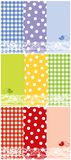 Summer scrapbook panels and bird Royalty Free Stock Photos
