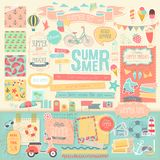 Summer scrapbook set - decorative elements. Royalty Free Stock Image