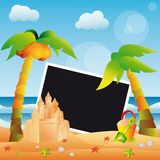 Summer scrapbooking card for one photo.  Royalty Free Stock Photo