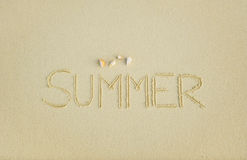 Summer script with seashells on the beach Royalty Free Stock Images