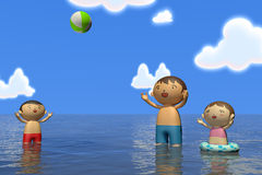 Summer sea. Families come to play in the sea. In the summer enjoy the sea. Family of four, father, mother, son, daughter play with. Illustration 3DCG. Change Stock Photography