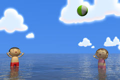 Summer sea. Families come to play in the sea. In the summer enjoy the sea. Family of four, father, mother, son, daughter play with. Illustration 3DCG. Change Stock Photos