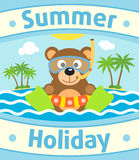 Summer sea background with bear Royalty Free Stock Image
