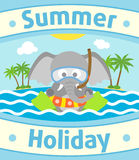 Summer sea background with elephant Stock Photography