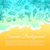 Summer sea background. Hand drawn vector illustration Royalty Free Stock Photography