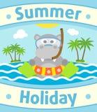 Summer sea background with hippopotamus Stock Image