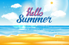 Summer Sea Background with Lettering Say Hello to Summer. Vector Illustration Royalty Free Stock Images