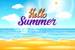Summer Sea Background with Lettering Say Hello to Summer. Vector Illustration Royalty Free Stock Photos