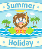Summer sea background with lion Royalty Free Stock Photo