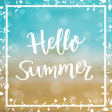 Summer Sea Background with message Hello  Summer. Vector Illustration Stock Photo