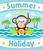 Summer sea background with monkey Stock Image