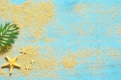 Summer sea background. Starfish and palm branch on a wooden blue background Stock Photography