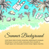 Summer sea background. Vintage hand drawn vector illustration Stock Photos