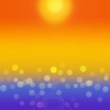 Summer sea background with yellow bokeh. Royalty Free Stock Images