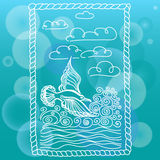 Summer sea banner. Illustration of bird seagull, sky and waves. Stock Photography