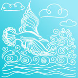 Summer sea banner. Illustration of bird seagull, sky and waves. Royalty Free Stock Images