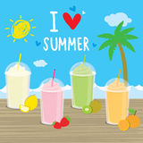 Summer sea beach cartoon cocktails fruit juice holiday vacation vector Royalty Free Stock Photo