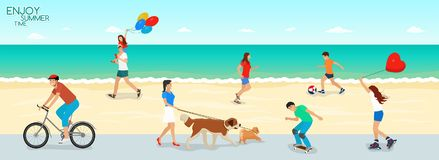Summer Sea Beach People Active rest Vacations stock illustration