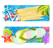 Summer sea beach rest banners. Vector Royalty Free Stock Photography