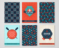 Summer Sea Cards with Patterns of Marine Symbols and Labels. Stock Images