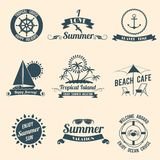 Summer sea emblems black Royalty Free Stock Photos
