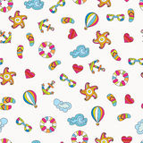 Summer sea holiday background. Vector seamless pattern Stock Photography