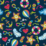 Summer sea holiday background. Vector seamless pattern royalty free illustration