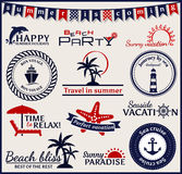 Summer and sea labels, symbols and emblems. Vector design elemen Stock Images