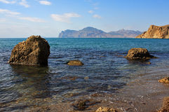 Summer sea landscape with boulders Royalty Free Stock Photography